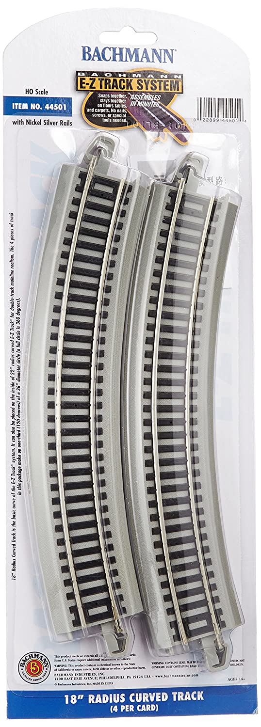 Bachmann Trains Snap Fit E Z Track 18 Radius Curved Track 4 card