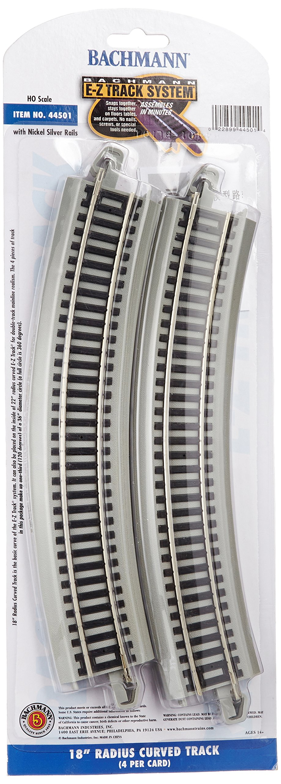 Bachmann Trains Snap-Fit E-Z Track 18'' Radius Curved Track (4/card)