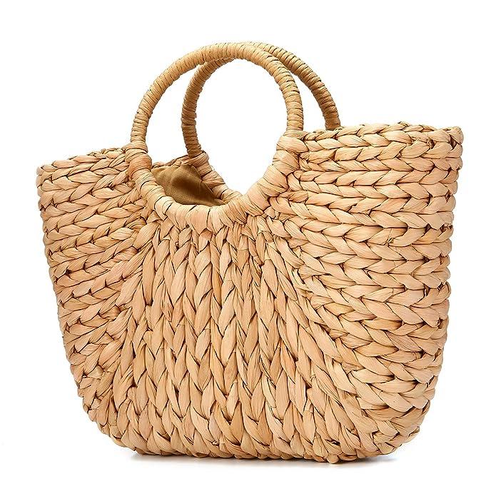 JOSEKO Summer Beach Bag, Women Straw Handbag Top Handle Big Capacity Travel Tote Purse