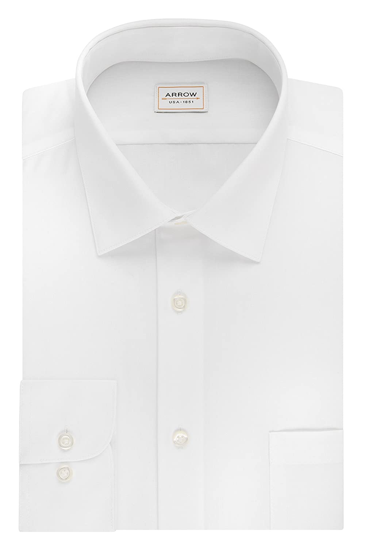 Arrow Men's Poplin Athletic-Fit Solid Spread-Collar Dress Shirt at ...