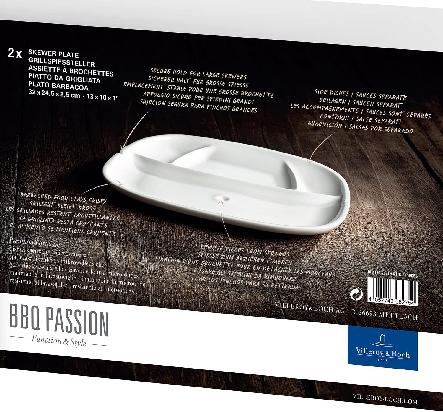 BBQ Passion Skewer Plate Set of 2 by Villeroy & Boch - Premium Porcelain - Made in Germany - Dishwasher and Microwave Safe - 12.5 x 9.5 Inches
