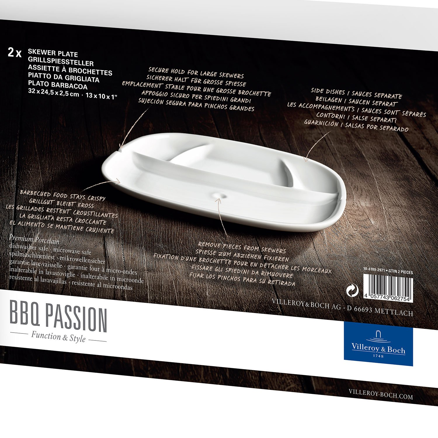 Amazon.com | BBQ Passion Skewer Plate Set of 2 by Villeroy & Boch - Premium Porcelain - Made in Germany - Dishwasher and Microwave Safe - 12.5 x 9.5 Inches: ...