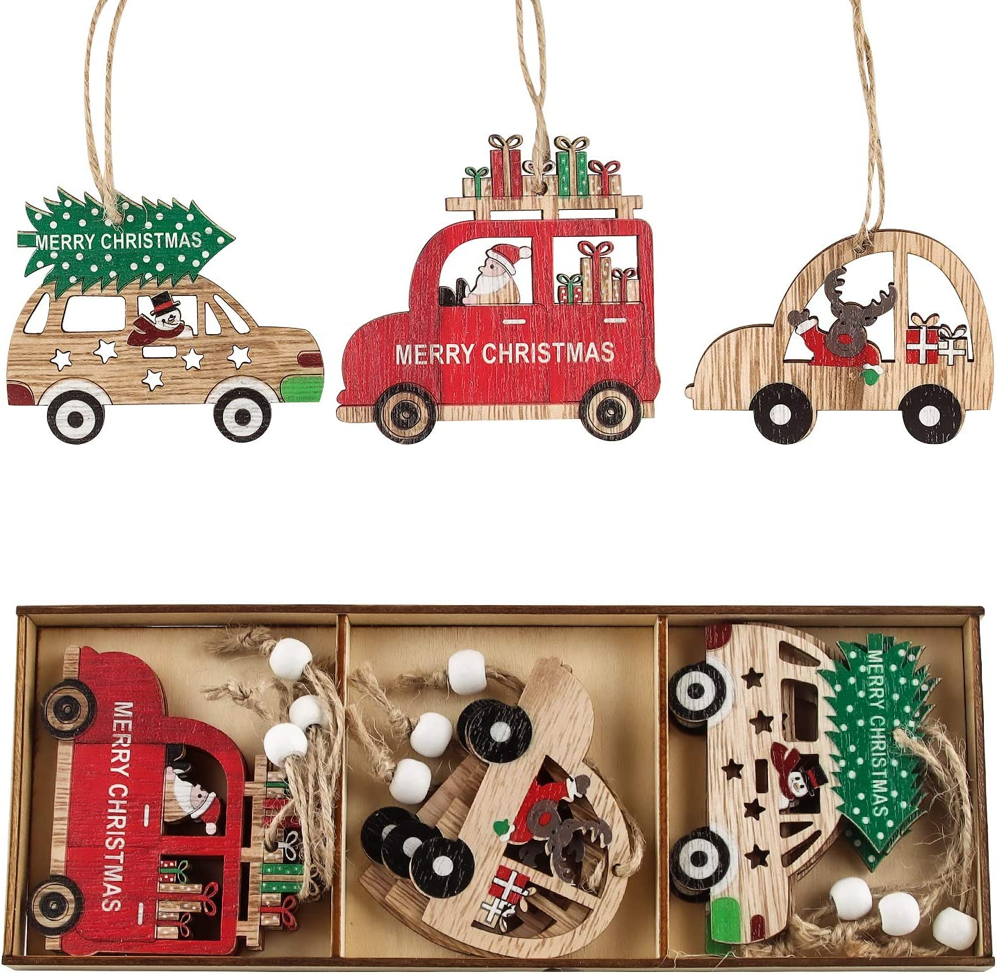EKKONG Colgantes de Madera para Navidad, Navideños de Madera, Adornos Madera Navideños de Arbol Navidad, Muchos Patrones Diferentes, con Cajas de Almacenamiento y eslingas, (MZ365 Modelo de Auto)