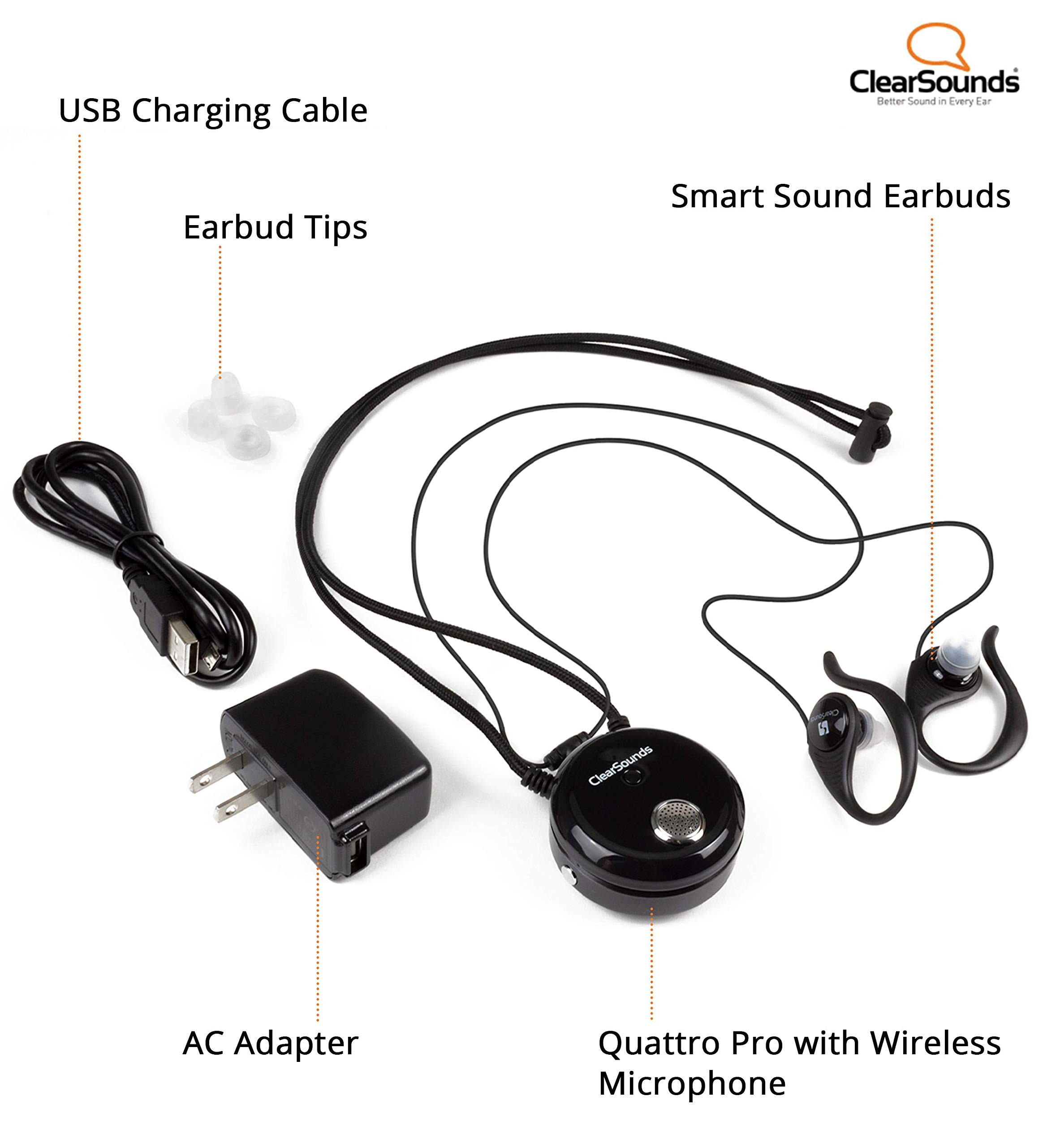 ClearSounds CSQTPRO Quattro Pro Portable Assistive Listening System - Bluetooth Neckloop and Removable Omni-Directional Microphone - T-Coil Hearing Aid Compatible by ClearSounds (Image #8)