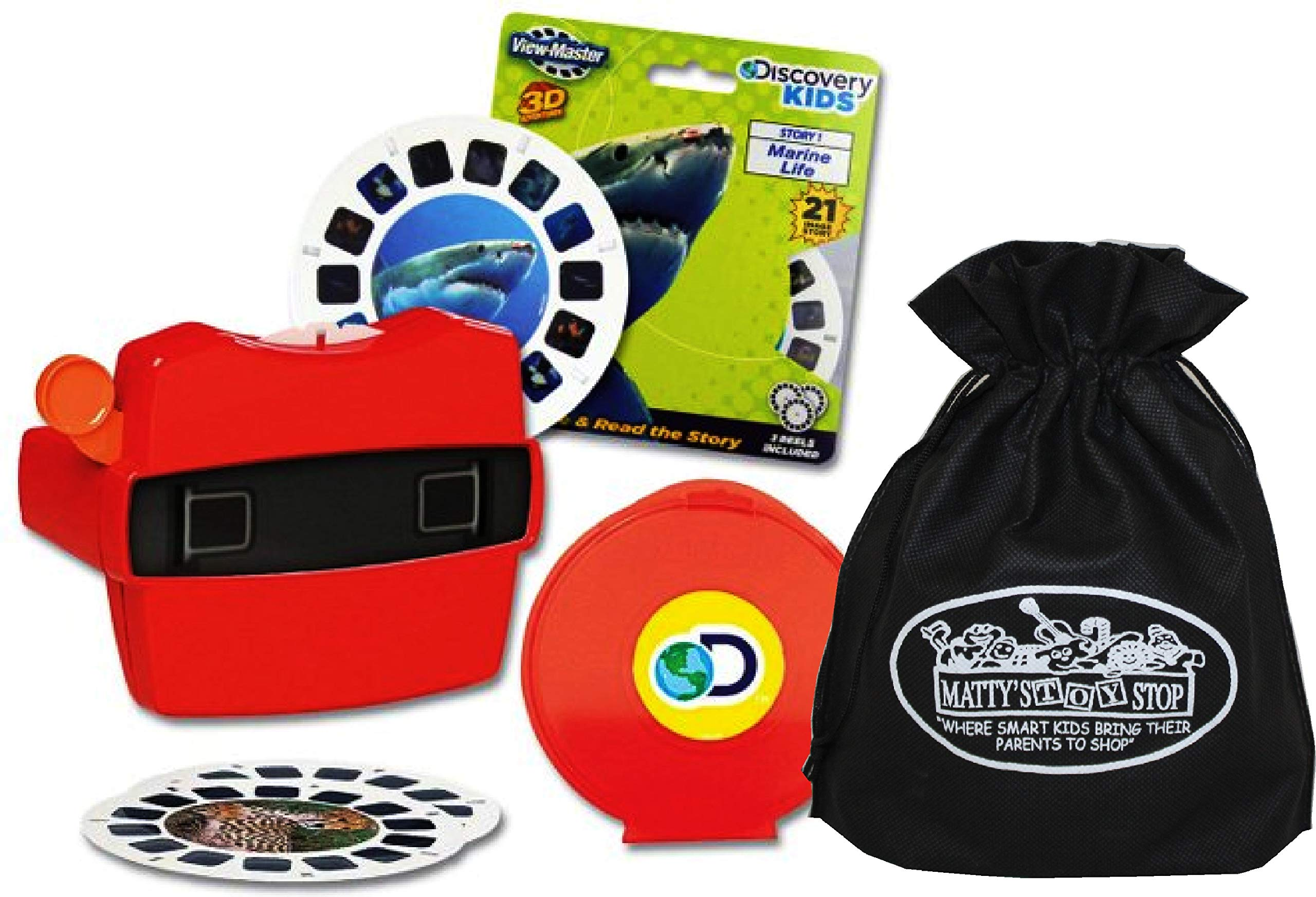 View Master Classic 3D Adventures Discovery Boxed Set & Marine Life Refill Gift Set Bundle with Bonus Matty's Toy Stop Storage Bag - 2 Pack by View Master (Image #1)