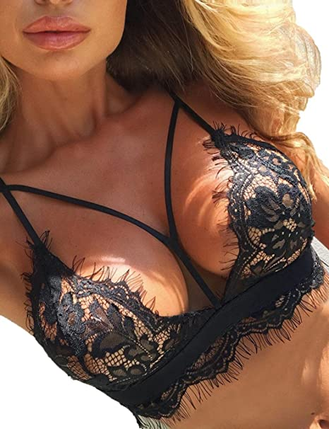 a2b84b70f5dde Amazon.com  Jaskin Women Sexy Lingerie Lace Bralette Bra Sleeveless Halter  Floral Lace Cut Out Bralette Bra  Clothing