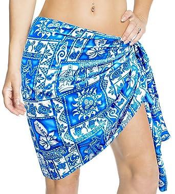 888deeabb6ad4 LA LEELA Likre Flora Geo Guitar Swirl Hula Bikini Sarong Women 78X21 Inc  Blue: *LA LEELA: Amazon.co.uk: Clothing