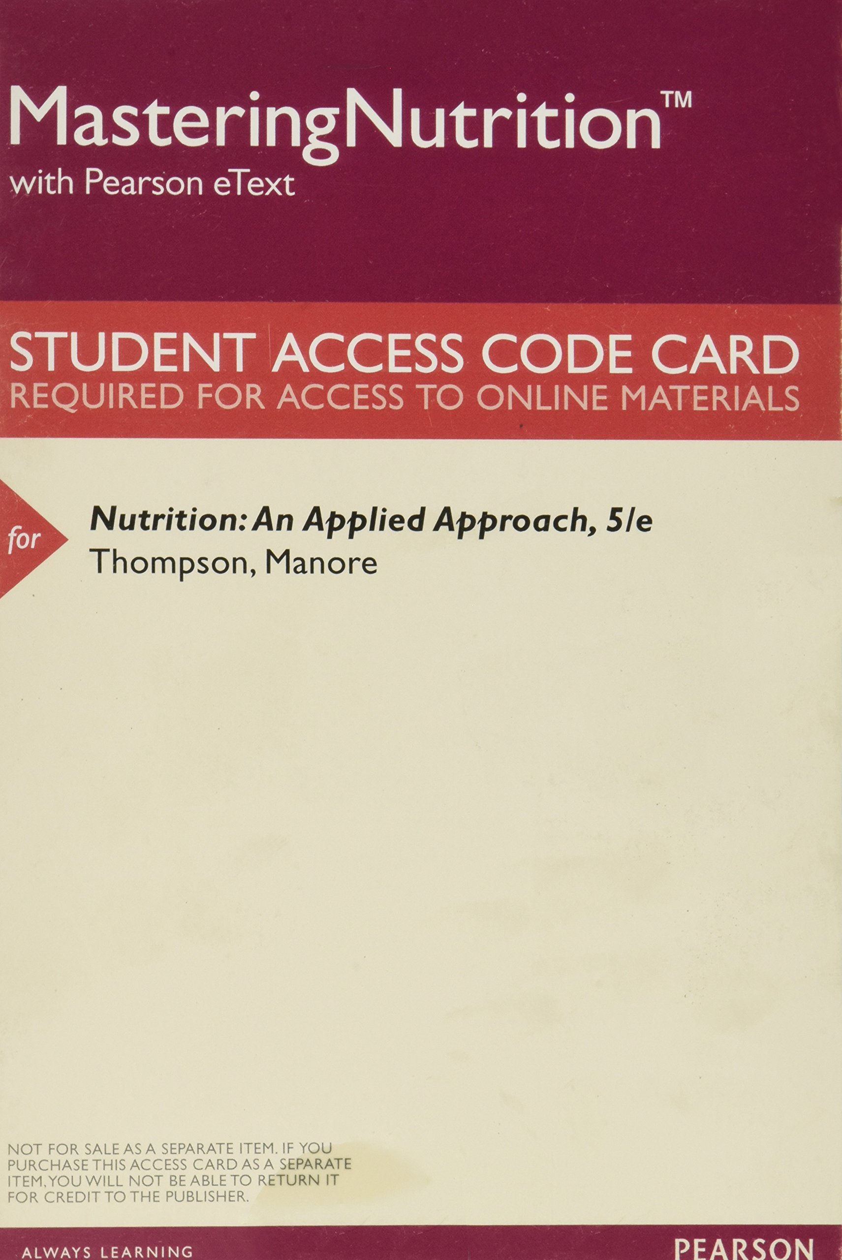 Download MasteringNutrition with MyDietAnalysis with Pearson eText -- ValuePack Access Card -- for Nutrition: An Applied Approach ebook