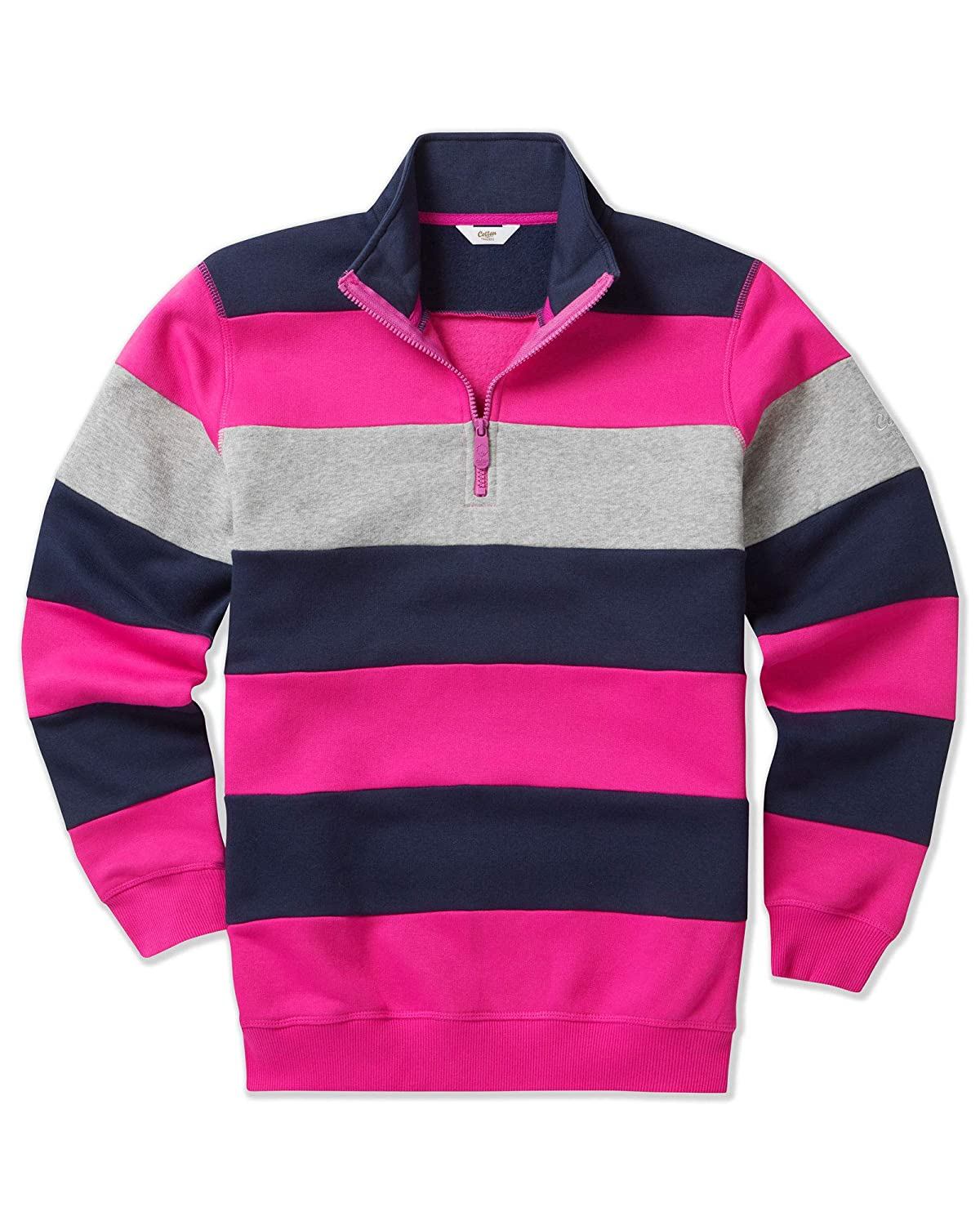 Cotton Traders Mens Long Sleeve Casual Striped Fleece Sweatshirt
