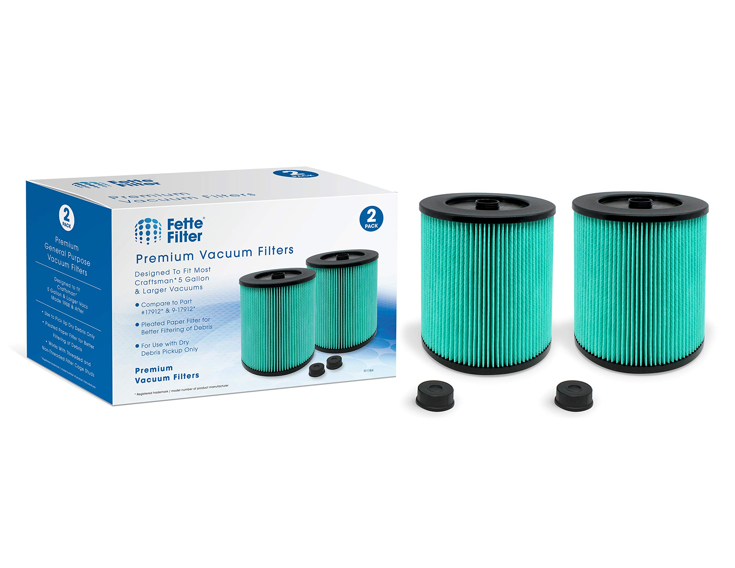 Fette Filter - 17912 & 9-17912 HEPA Vacuum Filter with High Efficiency Particle Air Filter Material Compatible with Craftsman. Compare to Part # 17912 & 9-17912. Pack of 2
