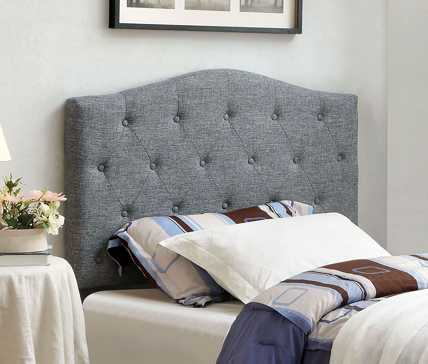 Furniture of America Satin Flax Fabric Button Tufted Headboard - Twin - Gray