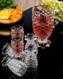 DIGITAL KITCHEN MALIK Crystal Pineapple Design Classic 6-Piece Glasses Set, Jug-1.5 L (200 ml, Clear)