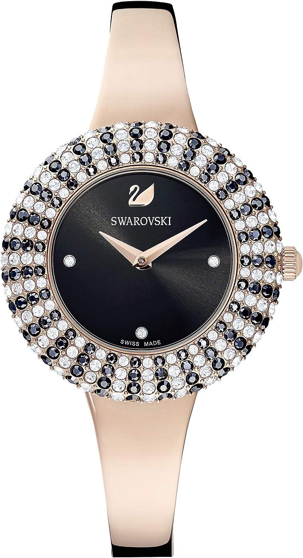 Swarovski Reloj Crystal Rose, Brazalete de metal, negro, PVD en tono Oro Rosa