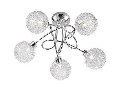 Paul Neuhaus 50187-17 Bubblz - Lámpara de techo con 5 focos (cromo y cristal, incluye 5 bombillas halógenas G9, 140 W, 230 V, 8 x 44,5 x 13 cm, forma ...