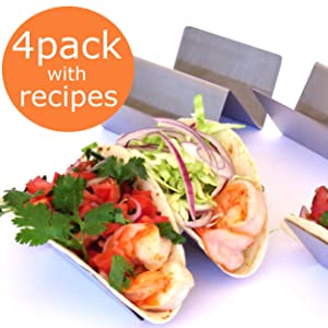 TACO HOLDER PREMIUM - SET OF FOUR - Stainless Steel Taco Stand Rack, Taco Truck, Holds 2 Large Tortilla, Street or Shell Tacos by OVATION HOME