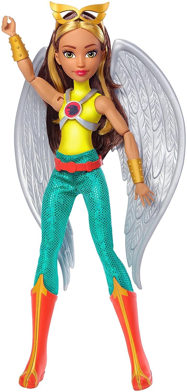 avec ailes dange tenue en tissu et carte didentité FJH00 avec ailes d/'ange Mattel DC Super Hero Girls Poupée articulée Hawkgirl de 30 cm brune jouet enfant