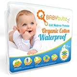 Crib Mattress Pee Protector - BabyBubz Waterproof Pad Cover - 4 Ply Natural Organic Cotton Fiber - Fitted, Soft, Breathable, Non-Toxic, Hypoallergenic