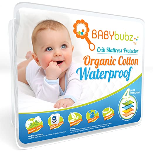 Crib Mattress Protector Pad - Waterproof Baby Nursery Bedding Cover - Soft Organic Cotton Fitted Bed Saver, Breathable Sheets, Hypoallergenic, Non-Toxic & Washable