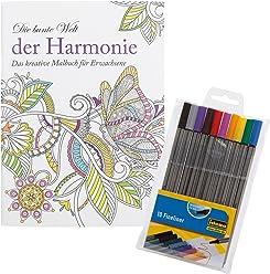 Idena 10122903 - Malbuch für Erwachsene, Motiv Harmonie, inklusive 10 Fineliner
