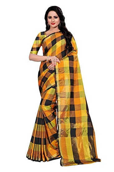 2d2b342dc3d5d5 Store Mart Cotton Silk Saree with Blouse Piece (Black Mustard): Amazon.in:  Clothing & Accessories