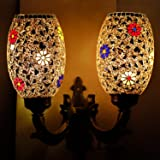 EarthenMetal Handcrafted Mosaic Decorated 2 Dome Glass Wall Lamp (Multicolour, Standard Size) Wall Lamps & Sconces at amazon