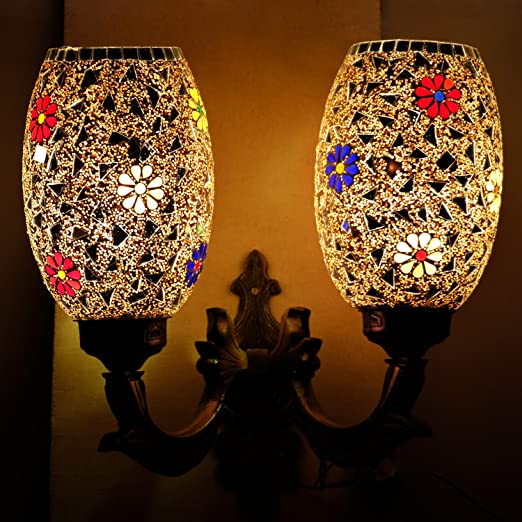 EarthenMetal Handcrafted Mosaic Decorated 2 Dome Glass Wall Lamp (Multicolour, Standard Size) Lamp Shades at amazon