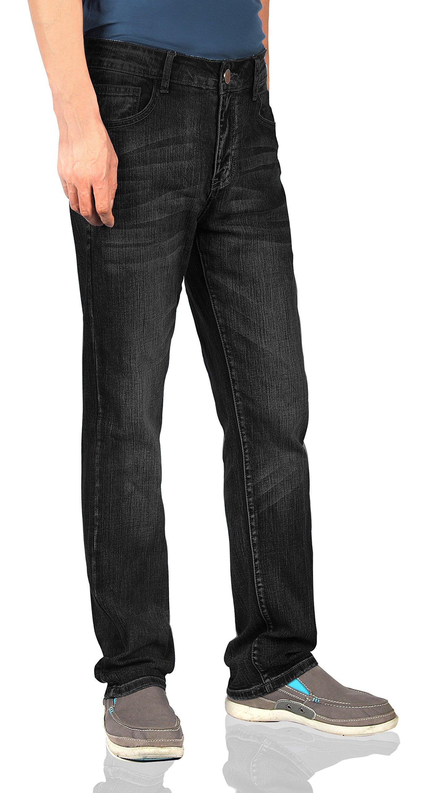iLoveSIA Men's Jeans Straight Leg Classic Regular Fit Size 38 x 32L Black Stonewash by iLoveSIA