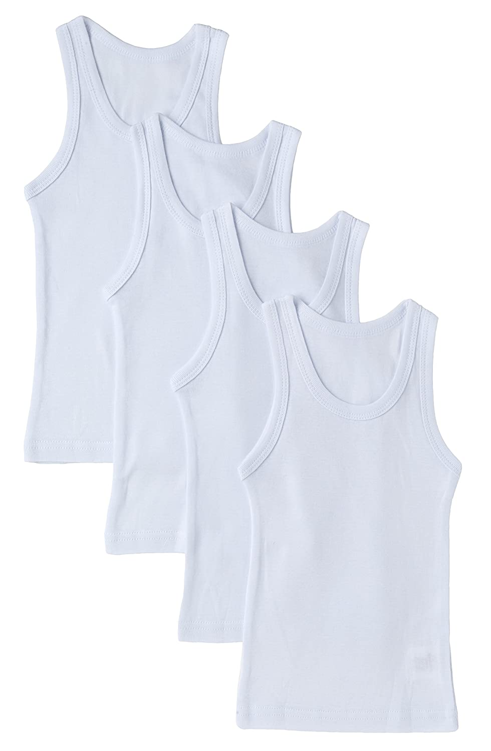 Sportoli Boys Ultra Soft 100% Cotton White Tank Top Undershirts