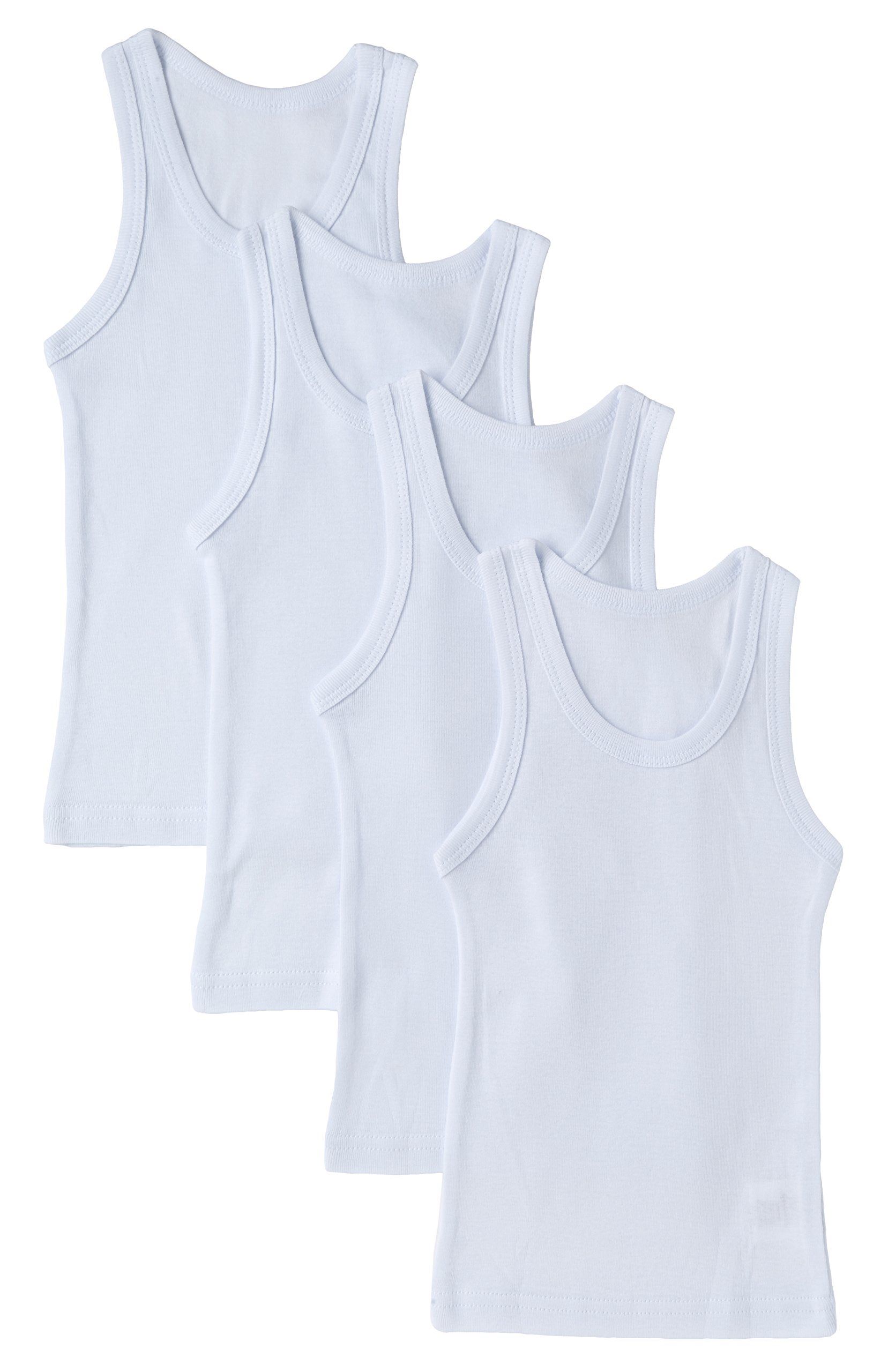 Sportoli Boys Ultra Soft 100% Cotton White Tank Top Undershirts - Size 3/4