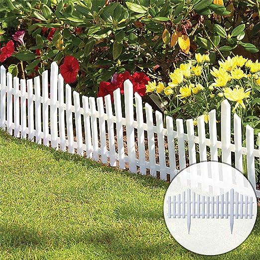 JIASHU 8 Piezas de Borde de Cerca de piquete Blanco Flexible para jardín, instalación fácil Tipo