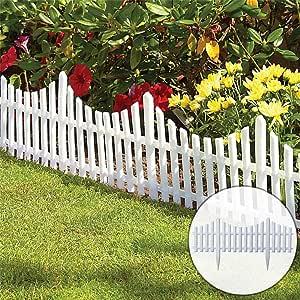 JIASHU 8 Piezas de Borde de Cerca de piquete Blanco Flexible para jardín, instalación fácil Tipo de Suelo de inserción Ribete de Paisaje, Patio de Borde de decoración de Paisaje al Aire