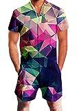 Goodstoworld Men's Romper Casual 3D Printed Short Sleeve Zip Jumpsuit