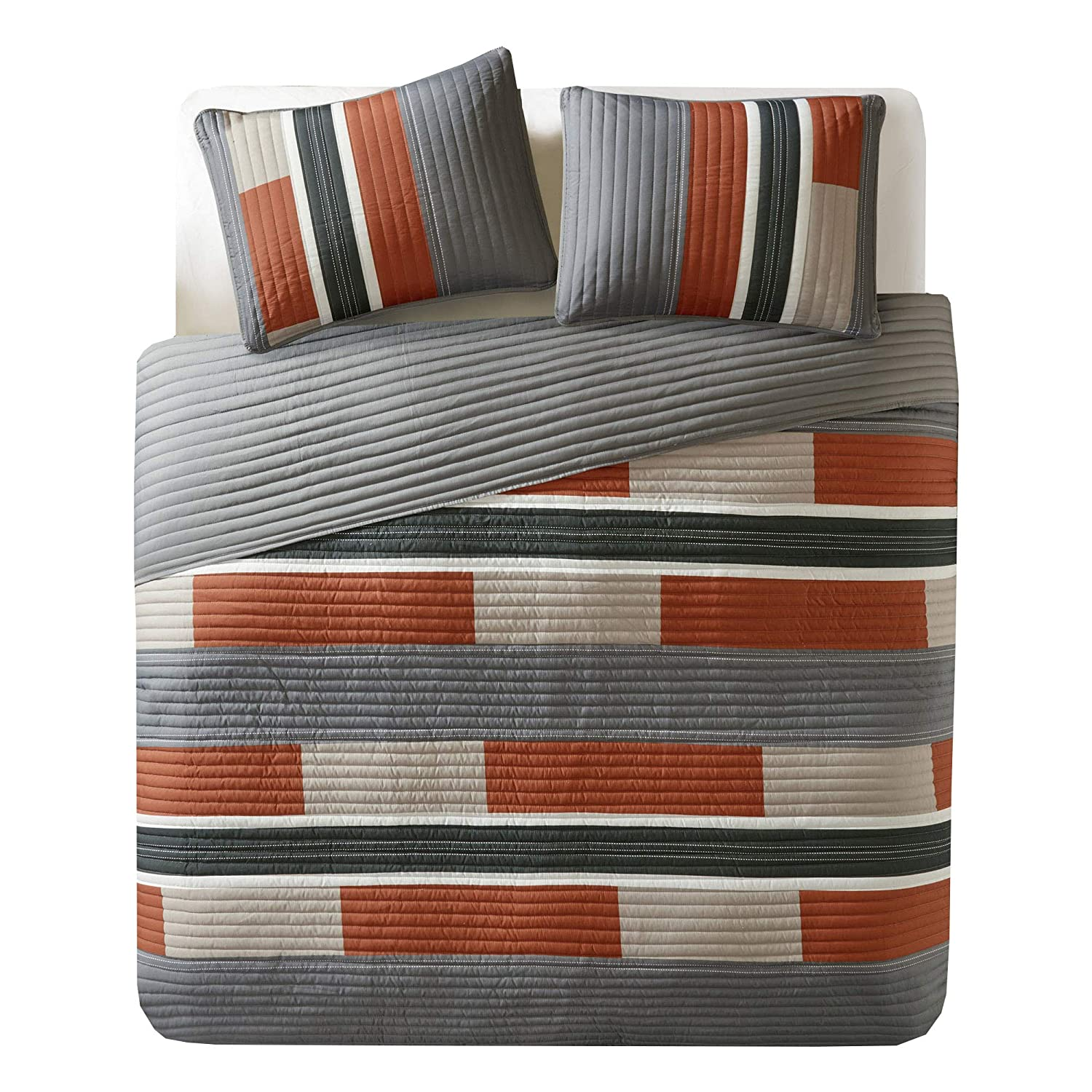 Comfort Spaces Pierre 3 Piece Quilt Coverlet Bedspread All Season Lightweight Hypoallergenic Pipeline Stripe Colorblock Kids Bedding Set, Full/Queen, Gray/Orange