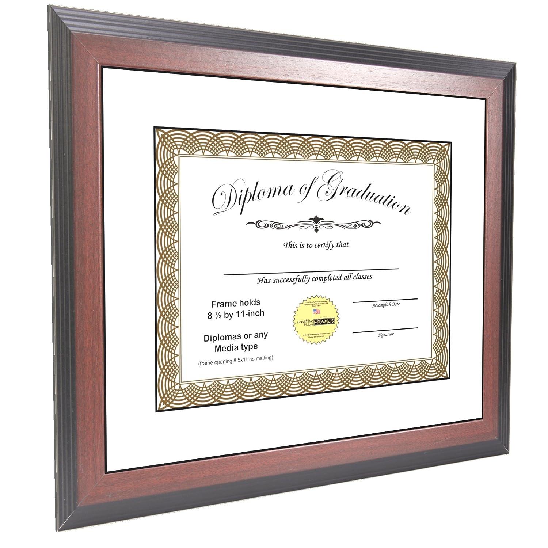 Amazon.com - CreativePF [11x14mh-w] Mahogany Diploma Frame Holds 8.5 ...