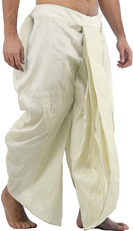 Maenner-Dhoti-Dupion-Silk-Plain-handgefertigt-fuer-Pooja-Casual-Hochzeit-Wear Indexbild 43