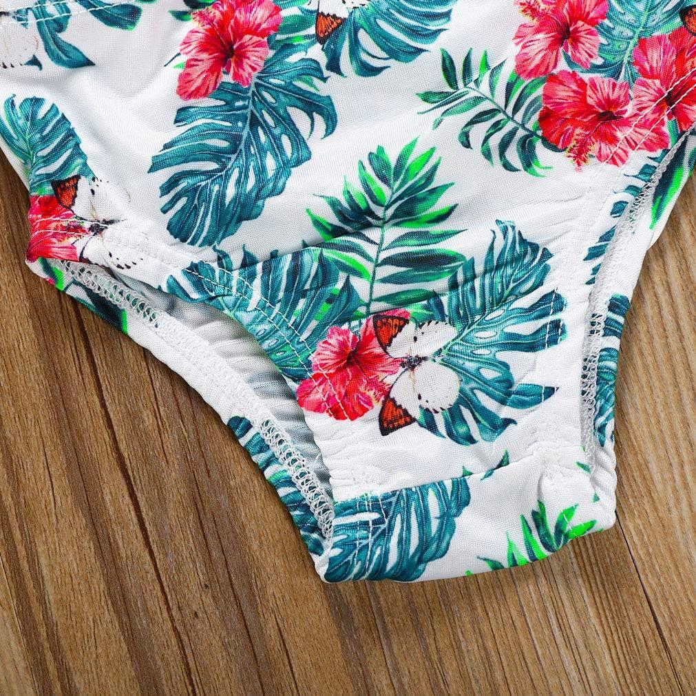 1-6T Toddler Baby Girls Bikini Sets Matching Leaf Flower Print Swimsuit Flounce Halter Swimwear Bathing Suit