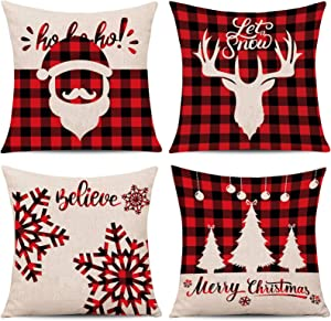 Whaline 4 Pieces Christmas Pillow Cover Red Black Scottish Buffalo Checkers Plaid Pillow Case Santa Reindeer Snow X-mas Tree Cushion Cover, Cotton Linen Sofa Bed Decoration (18