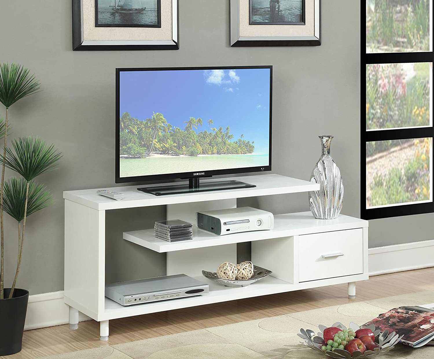 Convenience Concepts Seal II TV Stand, 60 , White
