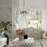 LALUZ French Country Chandelier White Distressed