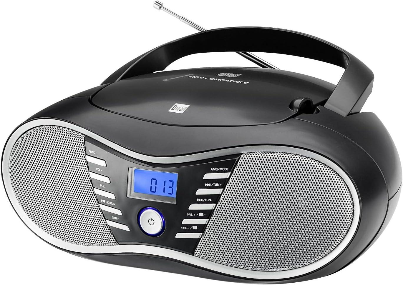 Dual P 60 BT Portable Boombox UKW-Radio, CD-Player, Bluetooth f/ür Audiostreaming, USB-Anschluss Rot