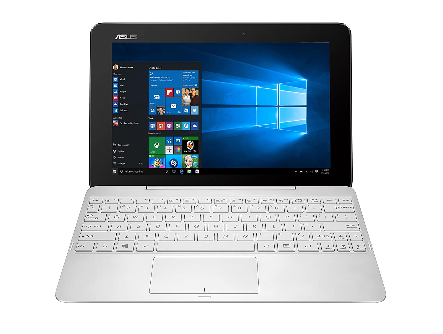 ASUS T100H 10 1 inch Convertible Notebook (Intel Atom Z8500 1 44 GHz  Processor, 2 GB RAM, 64 GB eMMC, Integrated Graphics, Windows 10) - White