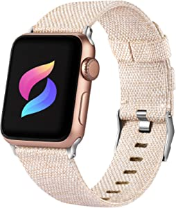 Haveda Fabric Band Compatible for Apple Watch Series 6 5/4 40mm, Soft Woven Canvas band for Apple Watch SE, iwatch bands 38mm womens, Cloth dressy for Apple Watch 38mm Series 3 2 1 Men (Apricot)