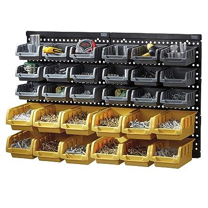 Work Expert Multi Bin Diy Tool Storage Organiser Rack Unit 32 Piece Storage Bin