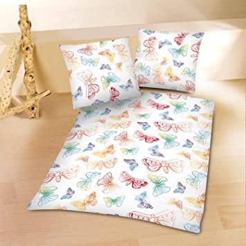 Microfaser Sommer Bettwäsche Schmetterlinge 1x 155x220 Bettbezug