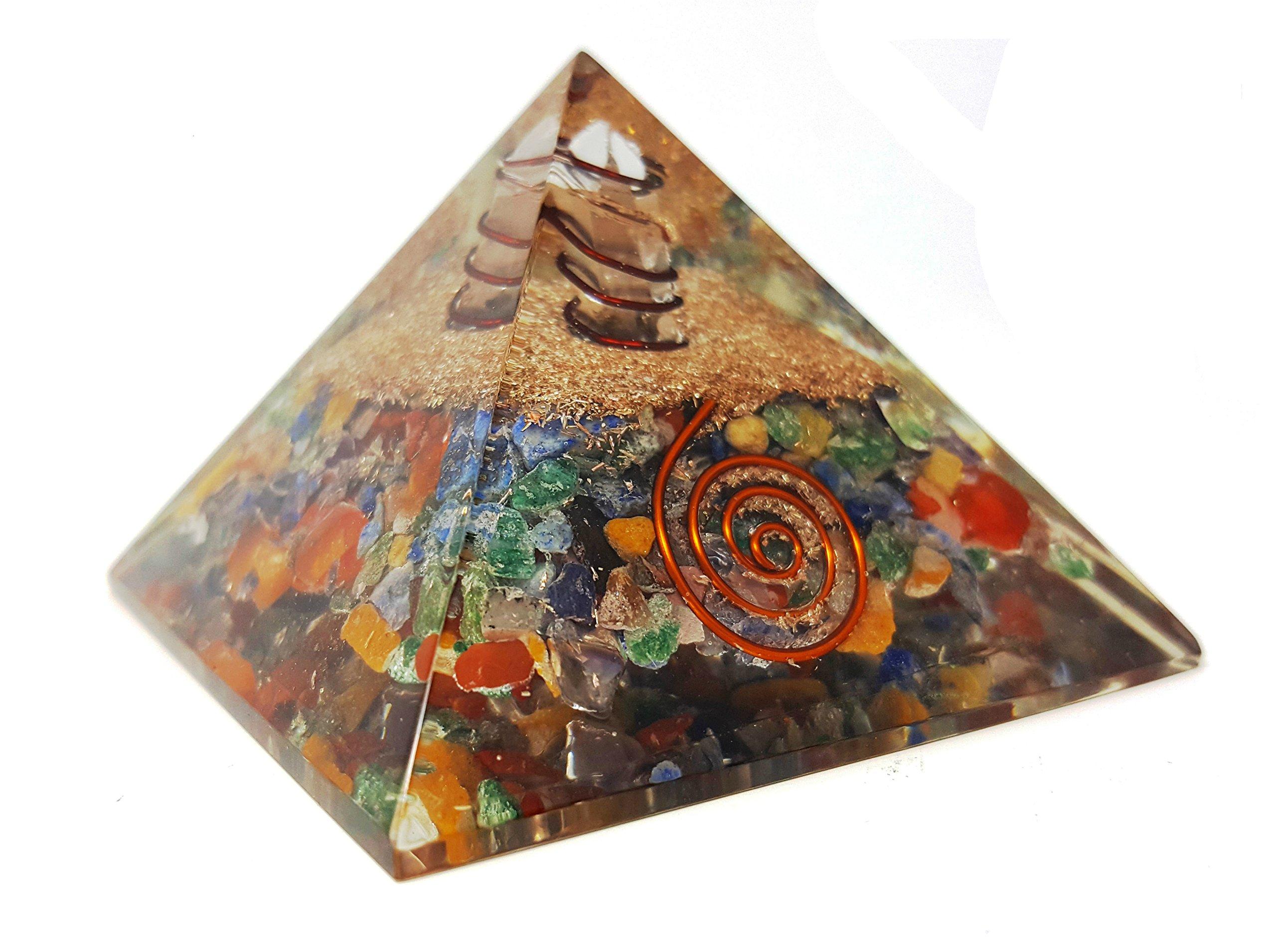 7 Chakra Crystal Orgone Pyramid Kit/Includes 4 Crystal Quartz Energy Points/EMF Protection Meditation Yoga Energy Generator by Auramore (Image #2)