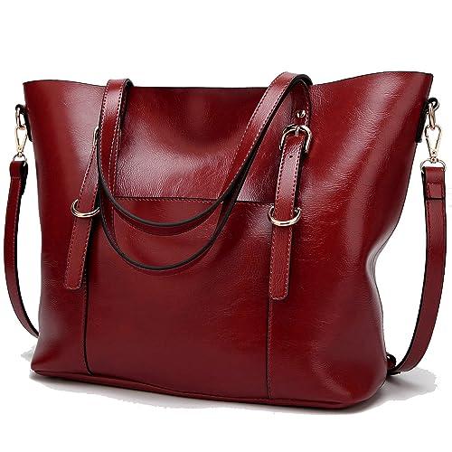 d5630a40e358 BNWVC Women Top Handle Satchel Handbags Tote Purse Shoulder Bag (RED2)