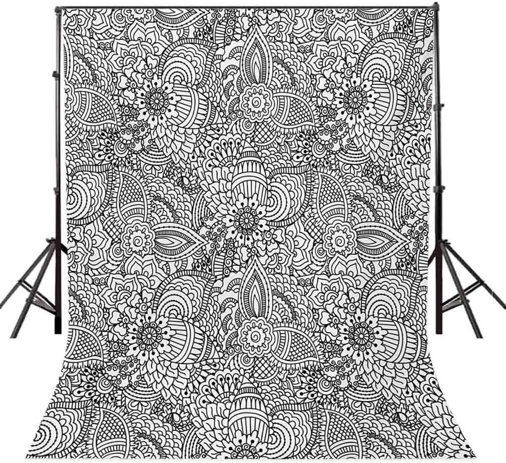 Henna 10x12 FT Photography Backdrop Monochrome Design Cultural Pattern Intricate Mehendi Swirls Leaves Background for Child Baby Shower Photo Vinyl Studio Prop Photobooth Photoshoot Black White
