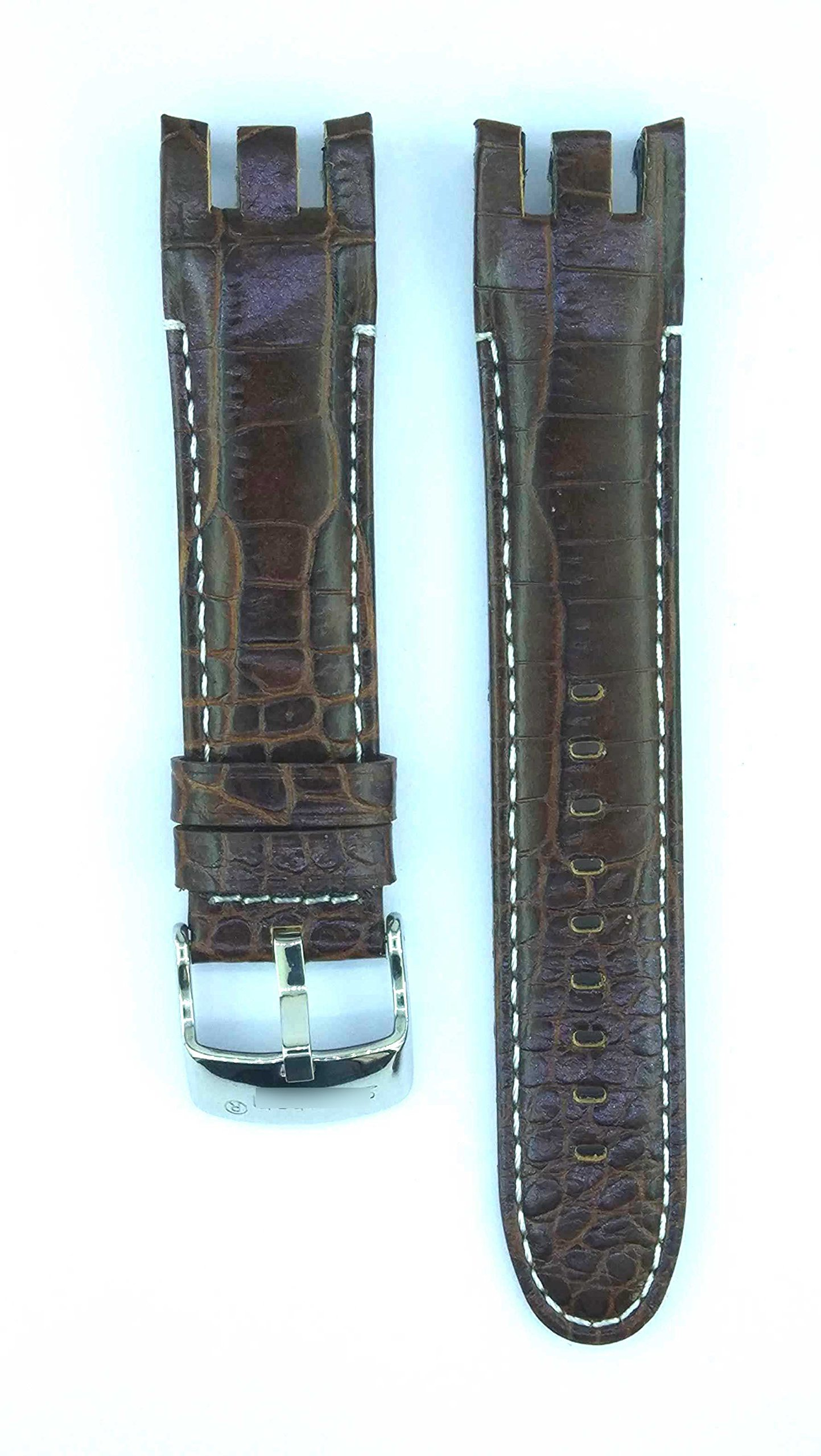 Fit Irony Retrograde YRS401 21mm Brown Color Leather Watch Strap 427SWC