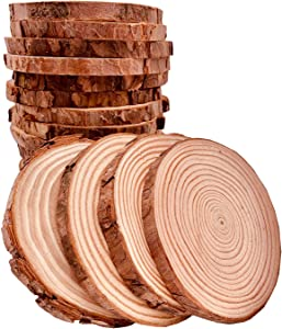 Unfinished Natural Wood Slices 20 Pcs 3.5-4 inch Craft Wood kit Circles Crafts Christmas Ornaments Rustic Wedding Decoration DIY Crafts with Bark for Crafts