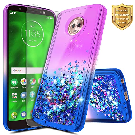 the best attitude 7d7cd 7a156 Moto G6 Case with Tempered Glass Screen Protector for Girls Kids Women,  NageBee Glitter Liquid Sparkle Bling Floating Waterfall Shiny Diamond Cute  ...